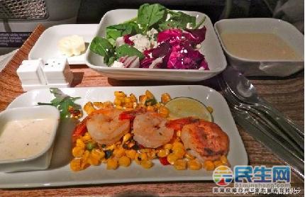 达美航空,经济舱,唯一一个飞机餐里有虾的航空公司